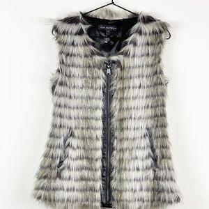 Via Spiga Faux Fur Gray Sleeveless Vest NWOT